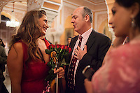 Australia's High Commissioner to India, Dr. Lachlan Strahan (right) praises Australian violinist Niki Vasilakis (left) during a casual conversation after her solo violin concert played to a prominent audience, including the Jaipur Royal Family, and other VIPs at the OzFest Gala Dinner in the Jaipur City Palace, in Rajasthan, India on 10 January 2013. Photo by Suzanne Lee
