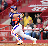 Catcher Phil Pohl (9) of the Clemson Tigers in a game against the South Carolina Gamecocks on March 3, 2012, at Carolina Stadium in Columbia, South Carolina. Carolina won, 9-6. (Tom Priddy/Four Seam Images)