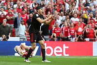 Luke O'Nien of Sunderland looks surprised to be shown a yellow card for his challenge on Charlton's Jonny Williams during Charlton Athletic vs Sunderland AFC, Sky Bet EFL League 1 Play-Off Final Football at Wembley Stadium on 26th May 2019