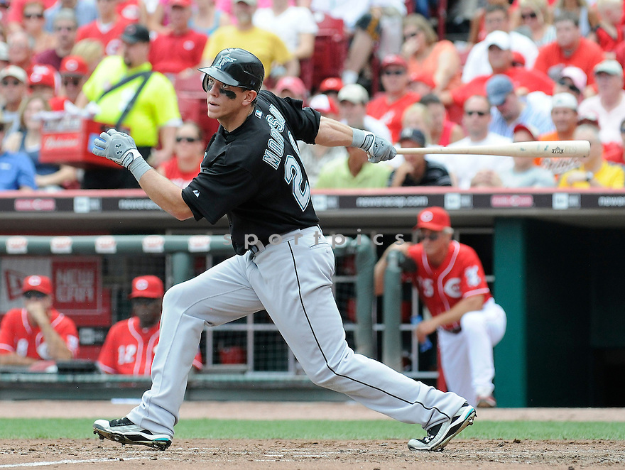 LOGAN MORRISON, of  the Florida Marlins, in action during the Marlins game against the Cincinnati Reds at Great American Ball Park in Cincinnati, Ohio  on August 15, 2010.   Reds won the game 2-0...