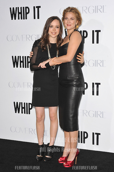 "Drew Barrymore & Ellen Page (left) at the Los Angeles premiere of their new movie ""Whip It"" at Grauman's Chinese Theatre, Hollywood. The movie marks Barrymore's directorial debut..September 29, 2009  Los Angeles, CA.Picture: Paul Smith / Featureflash"