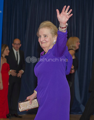 Former United States Secretary of State Madeleine Albright arrives for the 2014 White House Correspondents Association Annual Dinner at the Washington Hilton Hotel on Saturday, May 3, 2014.<br /> Credit: Ron Sachs / CNP<br /> (RESTRICTION: NO New York or New Jersey Newspapers or newspapers within a 75 mile radius of New York City) /MediaPunch