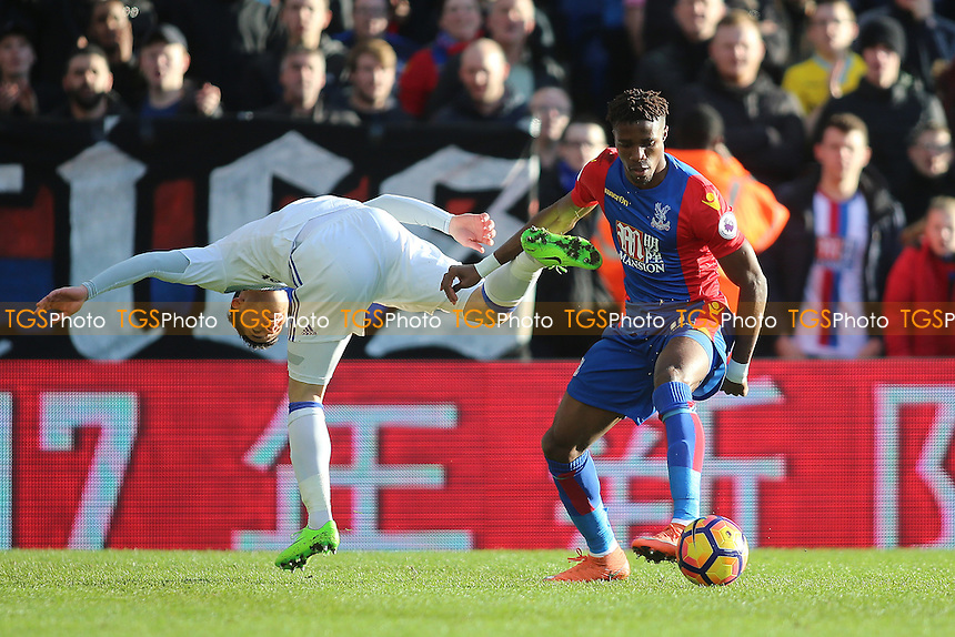 Wilfried Zaha of Crystal Palace and Bryan Oviedo of Sunderland during Crystal Palace vs Sunderland AFC, Premier League Football at Selhurst Park on 4th February 2017