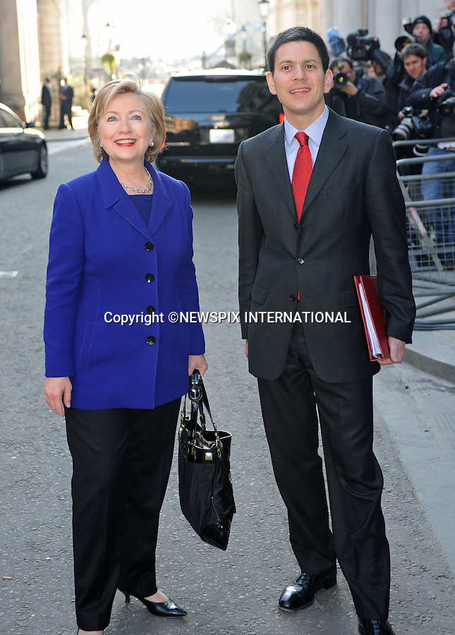 HILARY CLINTON AND DAVID MILIBAND.at No.10 Downing Street, London_01/04/2009.Hilary is attending the G20 Summit in  London..PHOTO CREDIT MANDATORY: ©Dias/NEWSPIX INTERNATIONAL  .(Failure to by-line the photograph will result in an additional 100% reproduction fee surcharge)..            *** ALL FEES PAYABLE TO: NEWSPIX INTERNATIONAL ***..IMMEDIATE CONFIRMATION OF USAGE REQUIRED:Tel:+441279 324672..Newspix International, 31 Chinnery Hill, Bishop's Stortford, ENGLAND CM23 3PS.Tel: +441279 324672.Fax: +441279 656877.Mobile: +447775681153.e-mail: info@newspixinternational.co.uk