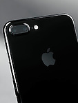 Closeup of Apple iPhone 7 Plus back side showing twin camera and a logo