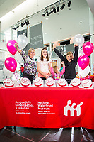 Tuesday 01 August 2017<br /> Pictured: Maia, Cory, Milly and Mary help celebrate the 3,000,000th visitor to the museum. <br /> Re: National Waterfront Museum Swansea celebrate 3 Million visitors to the Museum.