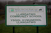 Pictured: Llangatwg Community School in Neath, Wales, UK. Tuesday 21 February 2017<br /> Re: A Muslim teacher denied entry to the United States while on a school.<br /> Juhel Miah, 25, had flown to Reykjavik, Iceland, with the party from Llangatwg Community School in Aberdulais, Neath, before boarding an onward flight to New York on 16 February.<br /> But before the plane took off he was escorted off by security staff.