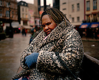 "62 year old Anie from Angola sits on a bench in London's Leicester Square. Anie spent her childhood in DR Congo where due to her father's political connections to the Angolan political party UNITA, she was imprisoned, tortured and raped. She has difficulty walking because her legs are so badly scarred from her torture injuries and they still cause her a great deal of pain. She has been destitute since April 2008 and sometimes sleeps outside and sometimes on friends' floors. ""My life here in England is full of pain and distress,"" she says. ""It's hard for me to walk and I desperately need some accommodation. If I'm lucky friends give me GBP 10 a week to live on but sometimes I have nothing."" Anie is one of an estimated 300,000 rejected asylum seekers living in the UK."
