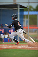 GCL Marlins shortstop Garvis Lara (3) at bat during the second game of a doubleheader against the GCL Mets on July 24, 2015 at the St. Lucie Sports Complex in St. Lucie, Florida.  The game was suspended in the first inning due to rain.  (Mike Janes/Four Seam Images)