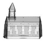 X-ray image of a church (black on white) by Jim Wehtje, specialist in x-ray art and design images.