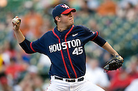Houston Cougars starting pitcher Michael Goodnight (#45) against the Texas Longhorns on Saturday March 6th, 2100 at the Astros College Classic in Houston's Minute Maid Park.  (Photo by Andrew Woolley / Four Seam Images)