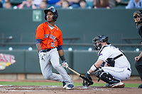 Osvaldo Duarte (2) of the Buies Creek Astros follows through on his swing against the Winston-Salem Dash at BB&T Ballpark on April 15, 2017 in Winston-Salem, North Carolina.  The Astros defeated the Dash 13-6.  (Brian Westerholt/Four Seam Images)