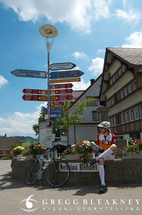 Bendel - The Swiss National Bike Network includes nine cross-country road bike routes with 82 local and regional trails covering 9,000 kilometers.  It's fully signed.  Maps and GPS coordinates can be purchased through www.swisstrails.ch and bikeswitzerland.com.