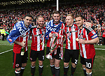 Sheffield United's Daniel Lafferty, Matt Done, Jack O'Connell, Mark Duffy and Billy Sharp celebrate during the League One match at Bramall Lane, Sheffield. Picture date: April 30th, 2017. Pic David Klein/Sportimage