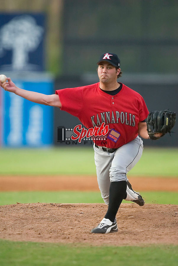Kannapolis relief pitcher Brian Omogrosso winds up to deliver the ball to the plate versus Hickory at L.P. Frans Stadium in Hickory, NC, Thursday, June 29, 2006.