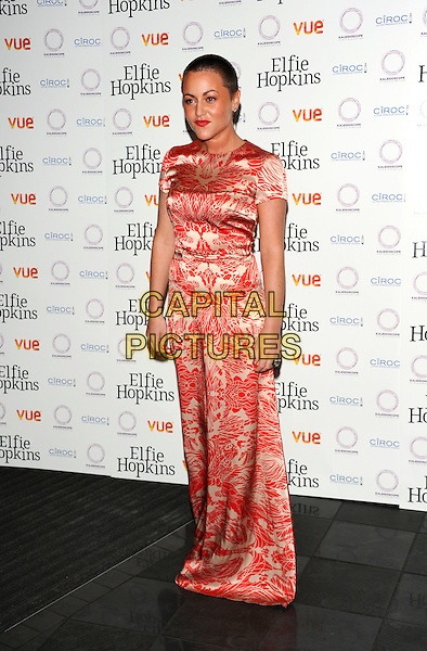 Jaime Winstone.'Elfie Hopkins' premiere held at the Vue cinema- Arrivals London, England..April 16th, 2012.full length white red print dress shaved head.CAP/CJ.©Chris Joseph/Capital Pictures.