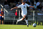 03 DEC 2011: Alyssa Mira (16) of GVSU passes the ball down field during the Division II Women's Soccer Championship held at the Ashton Brosnaham Soccer Complex in Pensacola, FL.  Saint Rose defeated Grand Valley State 2-1 to win the national title.  Stephen Nowland/NCAA Photos