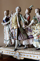 Detail of a group of porcelain figurines