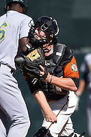 San Francisco Giants catcher Adam Sonabend (77) during an Instructional League game against the Oakland Athletics on October 13, 2014 at Giants Baseball Complex in Scottsdale, Arizona.  (Mike Janes/Four Seam Images)
