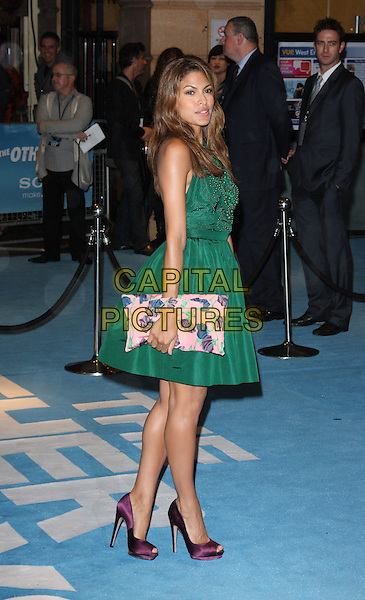 EVA MENDES .UK Film Premiere of 'The Other Guys' at Vue West End cinema, Leicester Square, London, England, UK,.September 14th 2010..full length green sleeveless dress purple silk peep toe shoes beaded pink print clutch bag .CAP/ROS.©Steve Ross/Capital Pictures
