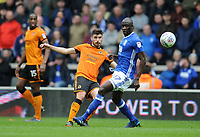 Wolverhampton Wanderers' Ruben Neves battles with Birmingham City's Cheick Ndoye<br /> <br /> Photographer Ashley Crowden/CameraSport<br /> <br /> The EFL Sky Bet Championship - Wolverhampton Wanderers v Birmingham City - Sunday 15th April 2018 - Molineux - Wolverhampton<br /> <br /> World Copyright &copy; 2018 CameraSport. All rights reserved. 43 Linden Ave. Countesthorpe. Leicester. England. LE8 5PG - Tel: +44 (0) 116 277 4147 - admin@camerasport.com - www.camerasport.com