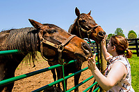 GEORGETOWN, KENTUCKY, MAY 06: Arson Squad & I'm Charasmatic get atte4ntion at the 14th Annual Fundraiser at Old Friends Farm on May 6, 2018 in Georetown, Kentucky. (Photo by Sue Kawczynski/Eclipse Sportswire/Getty Images)