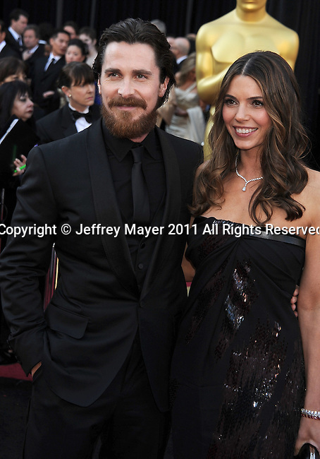 HOLLYWOOD, CA - FEBRUARY 27: Christian Bale and wife Sibi Bale  arrive at the 83rd Annual Academy Awards held at the Kodak Theatre on February 27, 2011 in Hollywood, California.