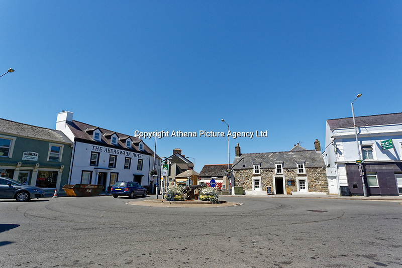 Abergwaun Hotel and the Royal Oak pub in the town square of Fishguard, Pembrokeshire, Wales, UK