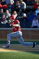 Mason Fox (2) of the Gardner-Webb Runnin' Bulldogs follows through on his swing against the Wake Forest Demon Deacons at David F. Couch Ballpark on February 18, 2018 in  Winston-Salem, North Carolina. The Demon Deacons defeated the Runnin' Bulldogs 8-4 in game one of a double-header.  (Brian Westerholt/Four Seam Images)