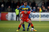 5th November 2017, Damson Park, Solihull, England; FA Cup first round, Solihull Moors versus Wycombe Wanderers; Matthew Bloomfield of Wycombe Wanderers holds up the Solihull Moors player