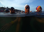 GUADALAJARA, MEXICO - OCTOBER 22:  Swimmers await the start of the during the Women's Open Water Swimming competition on Day Seven of the XVI Pan American Games on October 22, 2011 in Puerto Vallarta, Mexico.  (Photo by Donald Miralle for Mexsport) *** Local Caption ***
