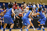 24 March 2014: Duke's Tricia Liston (32) is trapped by DePaul's Chanise Jenkins (13), Centrese McGee (23), and Jessica January (14). The Duke University Blue Devils played the DePaul University Blue Demons in an NCAA Division I Women's Basketball Tournament Second Round game at Cameron Indoor Stadium in Durham, North Carolina. DePaul won the game 74-65.