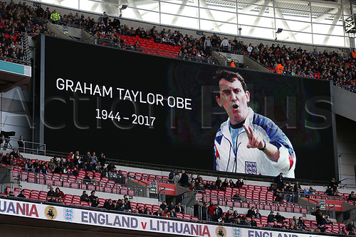 March 26th 2017, Wembley Stadium, London, England; World Cup 2018 Qualification football, England versus Lithuania; Giant screen showing a tribute to former England manager Graham Taylor
