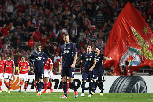 10.04.2014. Lisbon, Portugal.  AZ players react to Benfica's Rodrigo Machado goal during the match between SL Benfica from Portugal and AZ Alkmaar from Netherlands during the second leg of the Quarter-finals of UEFA Europa League, at Benfica's Luz Stadium in Lisbon
