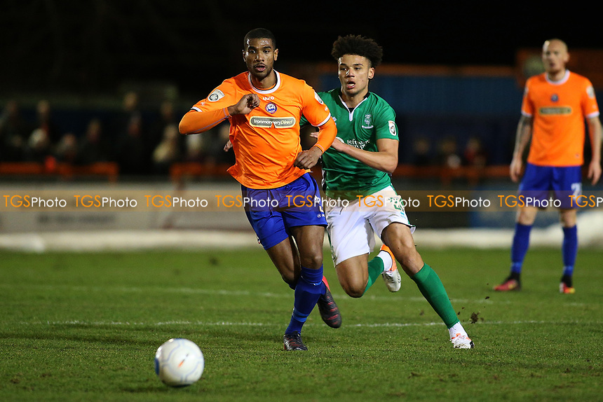 Jerome Okimo of Braintree Town and Josh Ginnelly of Lincoln City during Braintree Town vs Lincoln City, Vanarama National League Football at the IronmongeryDirect Stadium on 7th March 2017