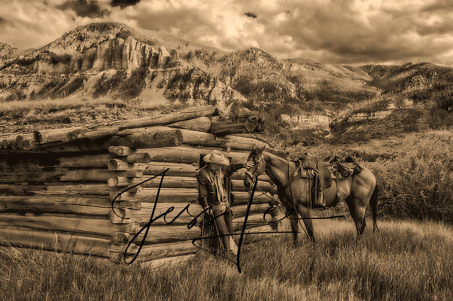 Photograph of Cowboy with horse at a old cabin in the beartooth mountains of Wyoming.  Black and white and sepia