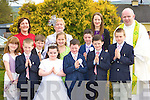 Pupils from Kilmurry NS who received their communion in Cordal on Saturday front row l-r: Darya O'Connell, Sean Walsh, Jack Flynn, Chloe O'Sullivan, Niamh McMennimen, Dean Taylor, Dylan O'Donoghue, Padraig Brosnan, Kieran Enright, Back row: Ann Cotter, Ina Horgan Principal, Eileen O'Connor and Fr Moynihan   Copyright Kerry's Eye 2008