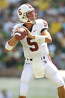 2 September 2006: Trent Edwards tosses his first touchdown pass of the year during Stanford's 48-10 loss to the Oregon Ducks at Autzen Stadium in Eugene, OR.