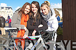 BICYCLE:  Kellyann Lynch, Mollie Lynch and Michaela Daly supporters of the Matt Lacey Cycle Race on the Tralee/Dingle Road, on Sunday.................................. ....