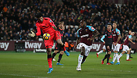 Arsenal's Petr Cech grabs the ball ahead of West Ham United's Michail Antonio<br /> <br /> Photographer Rob Newell/CameraSport<br /> <br /> The Premier League - West Ham United v Arsenal - Wednesday 13th December 2017 - London Stadium - London<br /> <br /> World Copyright &copy; 2017 CameraSport. All rights reserved. 43 Linden Ave. Countesthorpe. Leicester. England. LE8 5PG - Tel: +44 (0) 116 277 4147 - admin@camerasport.com - www.camerasport.com