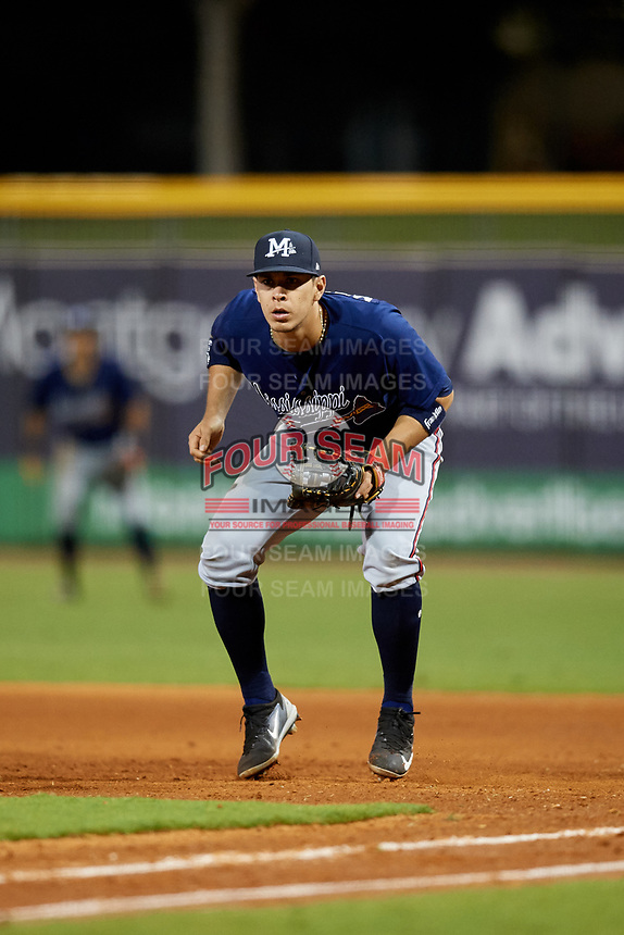 Mississippi Braves first baseman Joey Meneses (33) during a game against the Montgomery Biscuits on April 24, 2017 at Montgomery Riverwalk Stadium in Montgomery, Alabama.  Montgomery defeated Mississippi 3-2.  (Mike Janes/Four Seam Images)