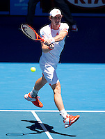 ANDY MURRAY (GBR )against MIKHAIL KUKUSHKIN (RUS) in the fourth round of the Men's Singles. Andy Murray beat Mikhail Kukushikin 6-1 6-1 1-0 (retired)..23/01/2012, 23rd January 2012, 23.01.2012 - Day 8..The Australian Open, Melbourne Park, Melbourne,Victoria, Australia.@AMN IMAGES, Frey, Advantage Media Network, 30, Cleveland Street, London, W1T 4JD .Tel - +44 208 947 0100..email - mfrey@advantagemedianet.com..www.amnimages.photoshelter.com.