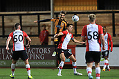 3rd October 2017, The Abbey Stadium, Cambridge, England; Football League Trophy Group stage, Cambridge United versus Southampton U21; Harrison Dunk of Cambridge United wins a header against Alfie Jones of Southampton