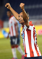 BARRANQUILLA  -COLOMBIA, 21-FEBRERO-2015. Jarlan Barrera  jugador del Atletico Junior   celebra su gol   contra  Jaguares  durante partido por la fecha 5 de la Liga   çguila I 2015 jugado en el estadio Metropolitano  de la ciudad de Barranquilla./ Jarlan Barrera player of Atletico Junir celebrates his goal  against   of Jaguares during the match for the fifth date of the Liga  Aguila  I 2015 played at Metropolitano  stadium in Barranquilla city<br />  . Photo / VizzorImage / Alfonso Cervantes / Stringer