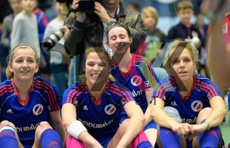 GER - Luebeck, Germany, February 07: Players of Mannheimer HC celebrate after winning the shootout during the 1. Bundesliga Damen indoor hockey final match at the Final 4 between Mannheimer HC (blue) and Duesseldorfer HC (white) on February 7, 2016 at Hansehalle Luebeck in Luebeck, Germany. Final score 6-4 after shootout.  (L-R) Vera Battenberg #64 of Mannheimer HC, Maxi Pohl #6 of Mannheimer HC, Lydia Haase #12 of Mannheimer HC<br /> <br /> Foto &copy; PIX-Sportfotos *** Foto ist honorarpflichtig! *** Auf Anfrage in hoeherer Qualitaet/Aufloesung. Belegexemplar erbeten. Veroeffentlichung ausschliesslich fuer journalistisch-publizistische Zwecke. For editorial use only.
