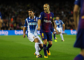 9th September 2017, Camp Nou, Barcelona, Spain; La Liga football, Barcelona versus Espanyol; Andrés Iniesta (right) pressured by Victor Sanchez (left)