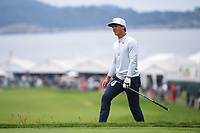 Thorbjorn Olesen (DEN) looks over his shot from the trap on 14 during round 1 of the 2019 US Open, Pebble Beach Golf Links, Monterrey, California, USA. 6/13/2019.<br /> Picture: Golffile | Ken Murray<br /> <br /> All photo usage must carry mandatory copyright credit (© Golffile | Ken Murray)