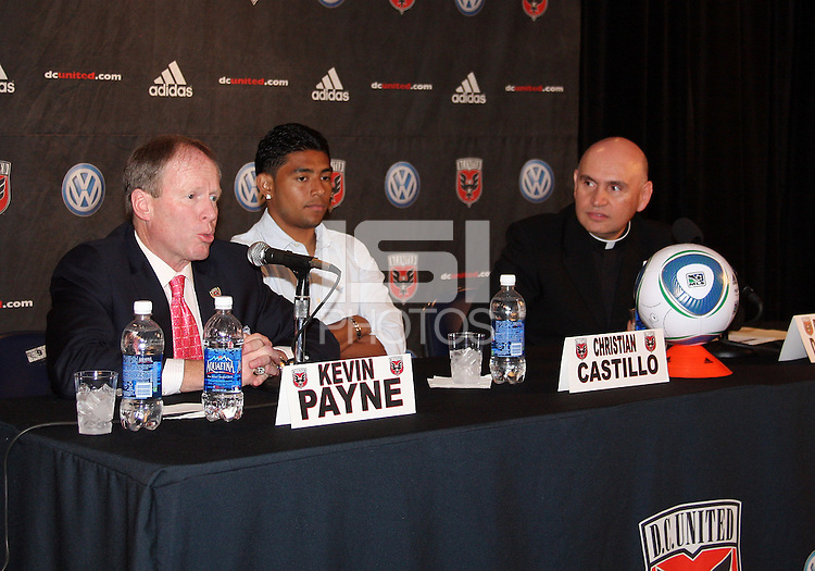 Kevin Payne, Christian Castillo and Rev. Mario Dorsonville at a press conference to announce a charity match between D.C. United and the national team of El Salvador on June 19, 2010. RFK Stadium, Washington DC, May 4 2010.