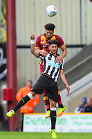 Ayoze Perez of Newcastle United and Nathaniel Knight-Percival of Bradford City during the pre season friendly match between Bradford City and Newcastle United at the Northern Commercial Stadium, Bradford, England on 26 July 2017. Photo by Thomas Gadd.