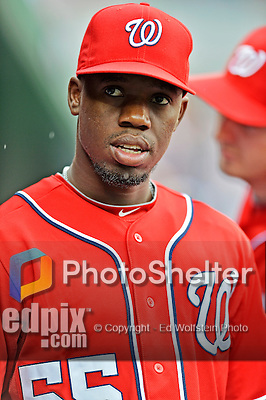 2 September 2012: Washington Nationals' outfielder Eury Perez prepares to face the visiting St. Louis Cardinals at Nationals Park in Washington, DC. The Nationals edged out the Cardinals 4-3, capping their 4-game series with three wins. Mandatory Credit: Ed Wolfstein Photo